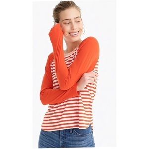 J. Crew Orange Stripe Ringer Raglan Tee